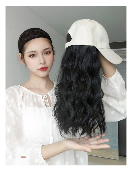Alex - Natural Wave Wig With Beige Baseball Hats