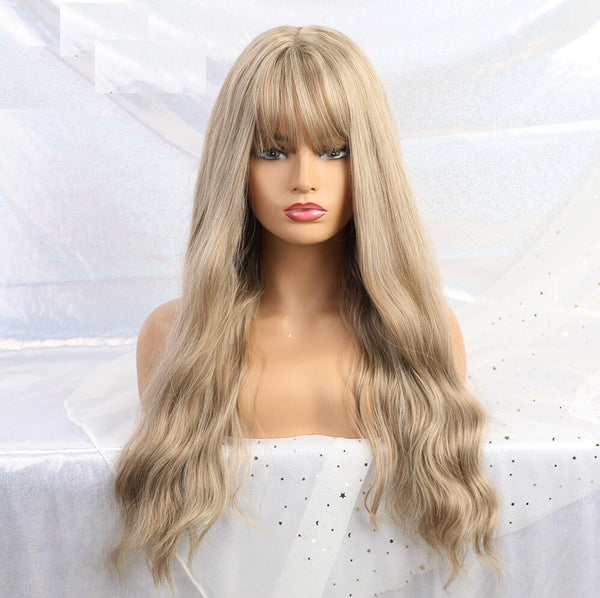 "Brianna - Natural Wave Golden Blonde Full Head Wig With Bangs 26"" Long"