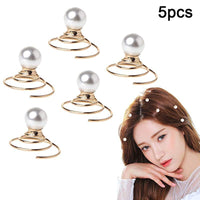 Fashion 5 pcs/set Golden Pearl Twist Coils Hair Clip
