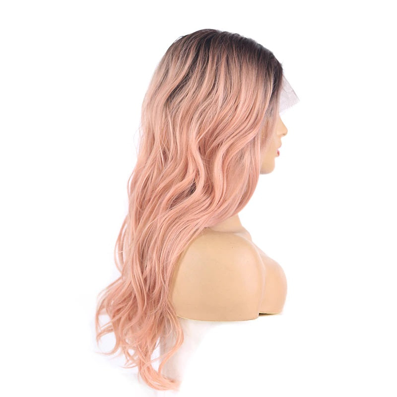 "Ella - Black to Light Pink Lace Front Wig 18"" long"