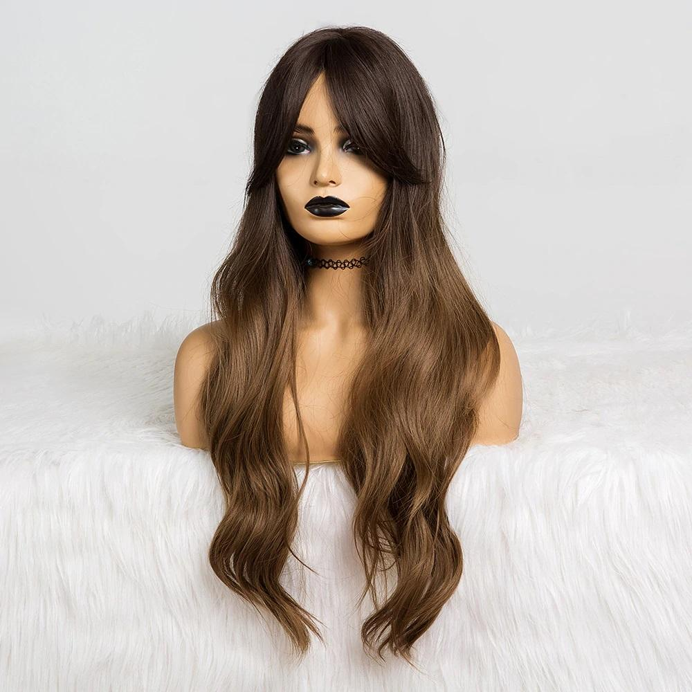 Sienna Ombre Brown Wig with Bangs - NeedIt.ca