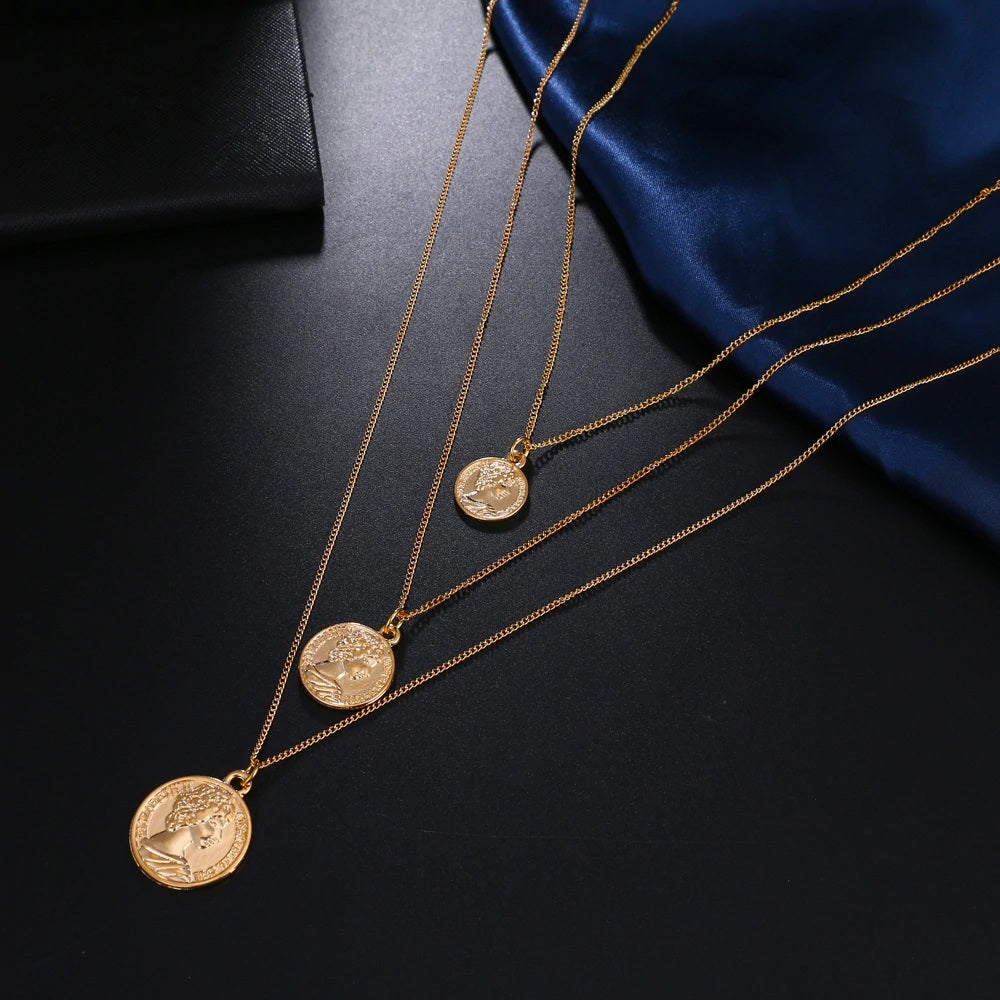 Multi Layered Choker Necklace with coins