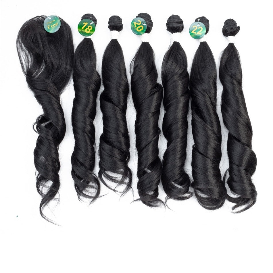 7 pcs/pack Loose Wave Bundles with Closure 18-22''