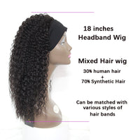 "Lily - Jerry Curl Brown U-part Wig With Black Headband 18"" Long"