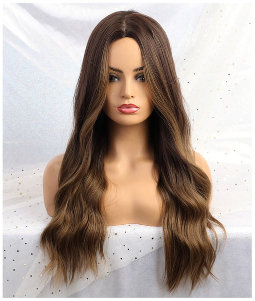 "Marlene - Natural Wave Ombre Light Brown Full Head Wig 26"" Long"
