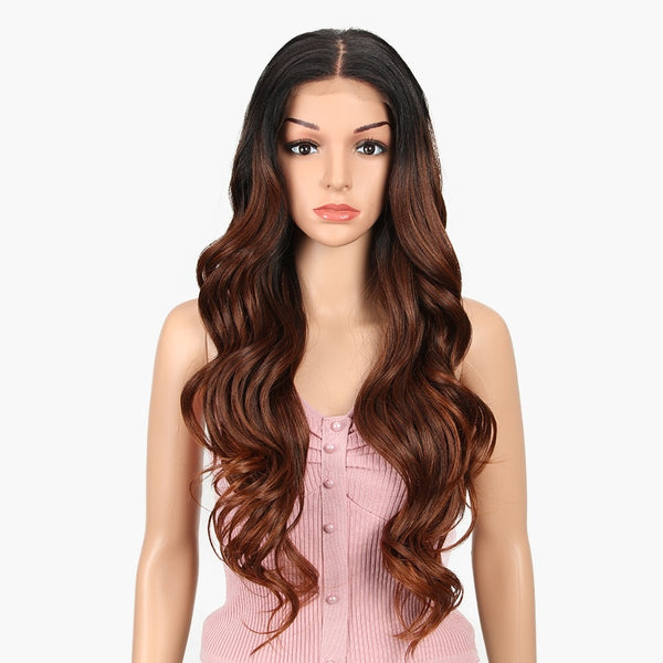"Kim - Body Wave Ombre Black Natural Brown Dark Roots Lace Front Wig 30"" Long Middle Parting"