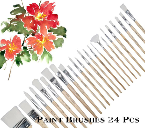 24 pcs/set Paint Brushes with Wooden Handle and canvas bag - NeedIt.ca