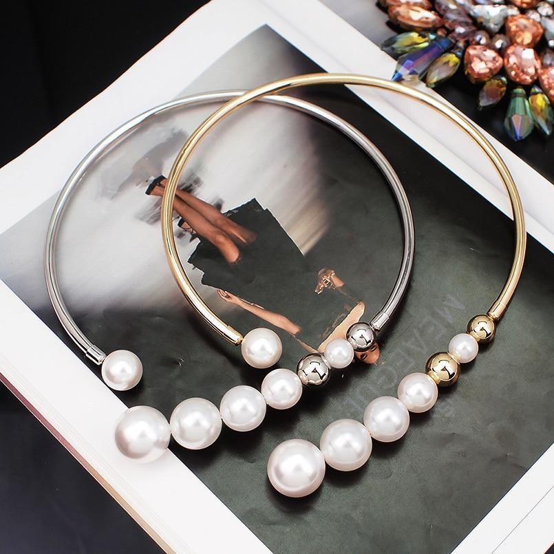 Simulated Pearl Choker Necklace For Women