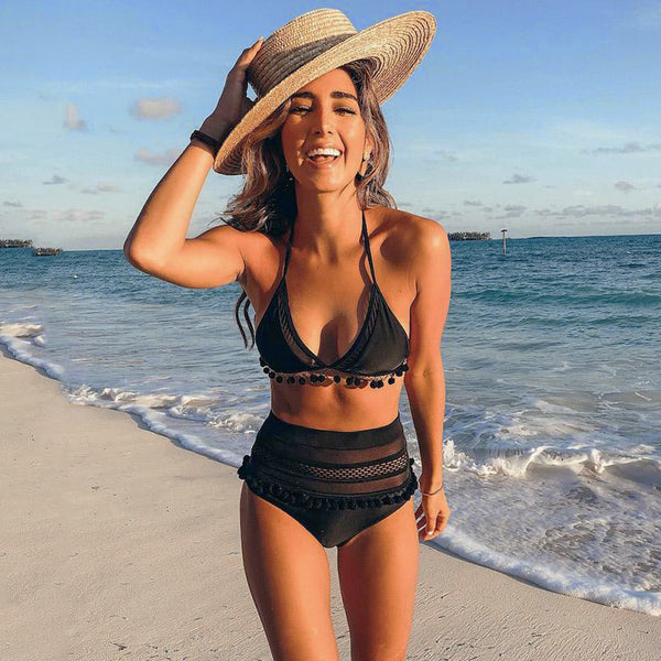 Two Piece Black Halter Top Swimsuit
