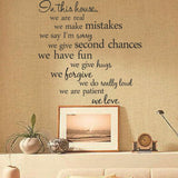House rules wall decal stickers