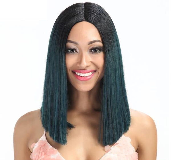 "Green Envy - Straight Dark Green Dark Roots Lace Front Wig 14"" Long"