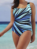 Striking Striped Aqua Women Bathing Suit