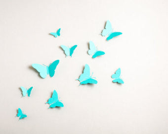 Light blue 3D Butterflies wall decal