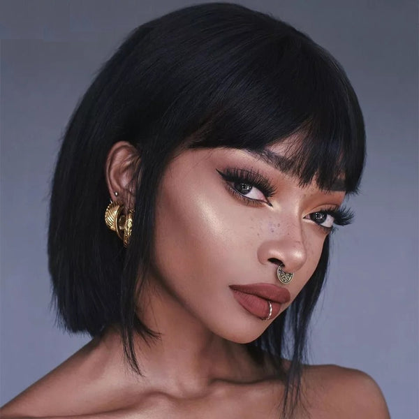 "Aisha - Straight Bob Style Full Head Wig With Bangs 14"" Long ( Various colours )"