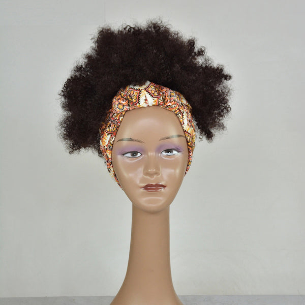 Honey - Kinky Curly Black With Headband Wig