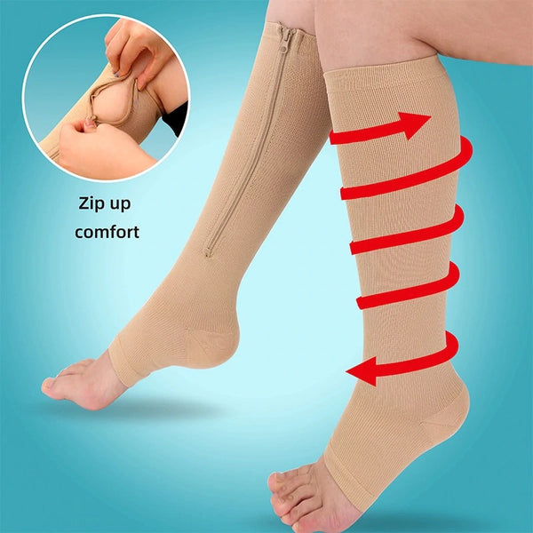 New Styles Zipper Open Toe Compression Socks