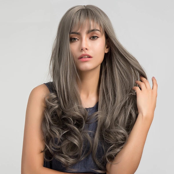 "24"" Juliet  - Grey Wavy Wig With Bangs"