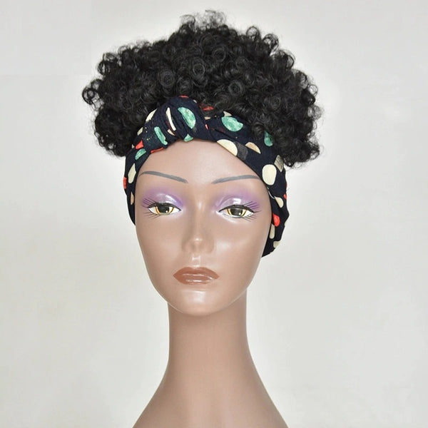 Honey - Short Headband Black Curly Wig
