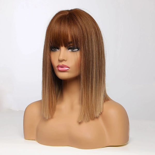 "Julianne - Straight Ombre Copper Blonde Full Head Wig With Bangs 16"" Long"