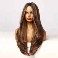 "Alison - Straight/Natural Wave Brown With Highlights Full Head Wig 26"" Long"