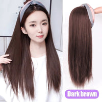 "Lolita - Straight Dark Brown U-part Wig With Cotton Candy Headband 22"" Long"