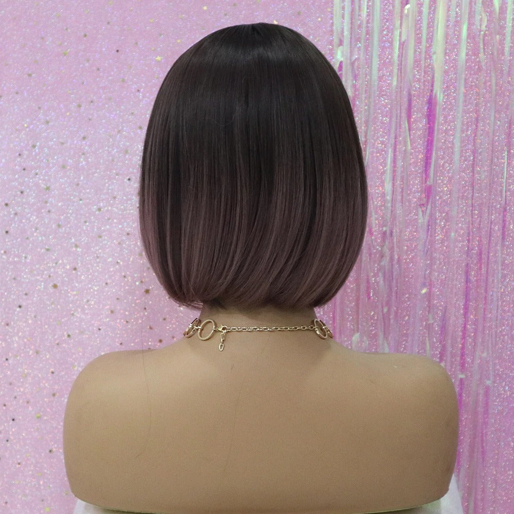 Natasha - Ombre Brown to Light Purple Wig with Bangs