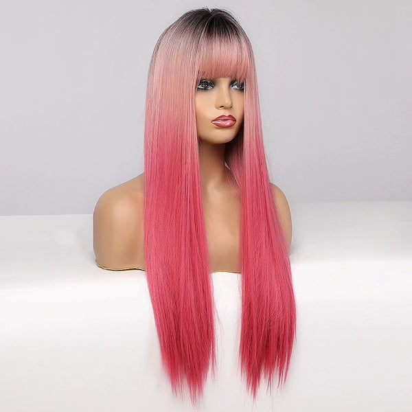 "22"" Pink - Ombre Black to Pink Wig with Bangs"