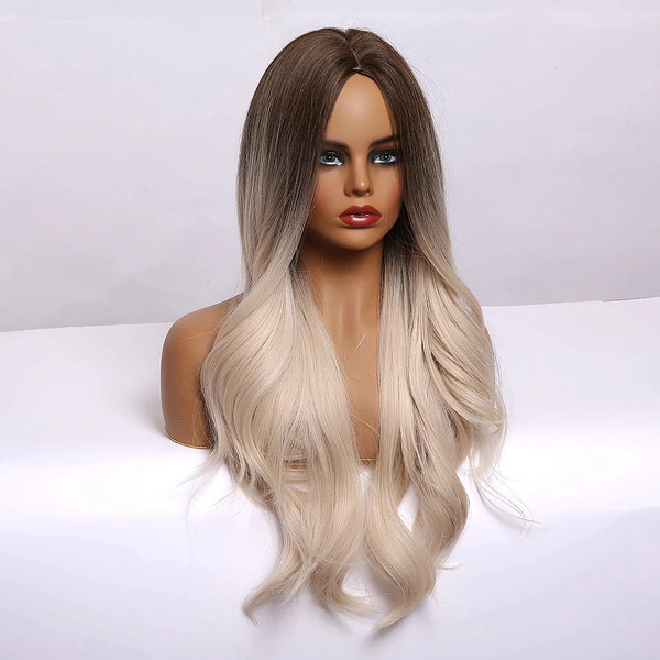 "Paige - Natural Wave Ombre Natural Brown Blonde Dark Roots Full Head Wig 26"" Long"