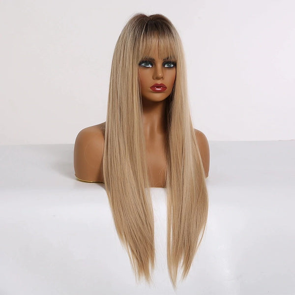 "Joy - Straight Ombre Light Brown Dark Roots Full Head Wig With Bangs 24"" Long"