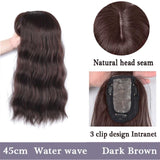 "Water Wave Clip-in Women's Hair Topper With Bangs 18"" Long"
