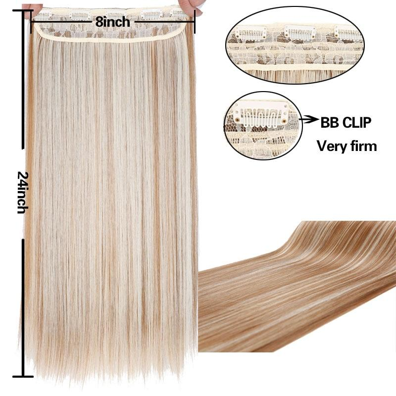 "n Premium Straight 24"" long Clip in Hair Extensions"