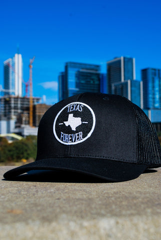 Texas Forever 6-Panel Snap Black and White