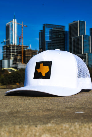 White TX Patched Hat Gold & Black