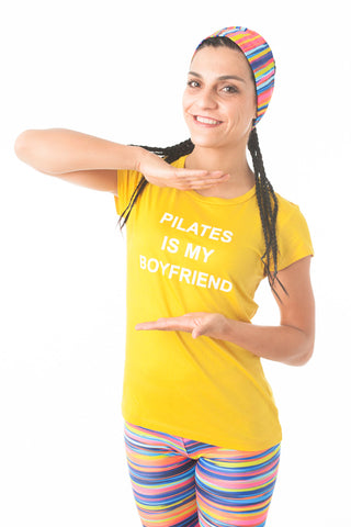 Pilates Is My Boyfriend Tee-Canary Yellow