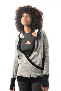 Limited Edition Grey and Black Pullover Hoodie Wrap - KDW Apparel