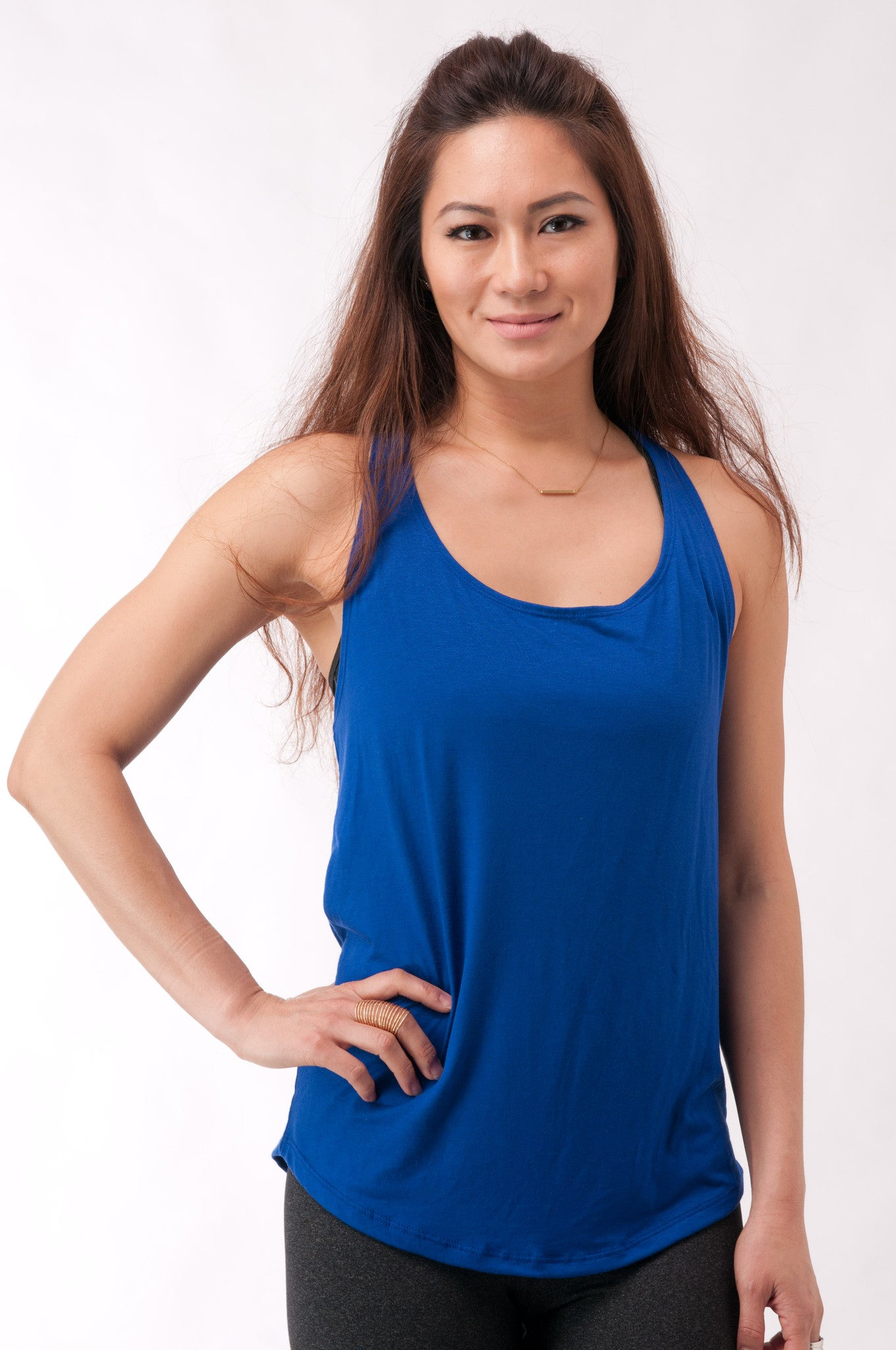 Not your Basic Pilates Tank-Royal Blue - KDW Apparel