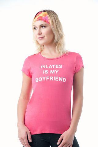 """Pilates Is My Boyfriend""  Pila-Tee- Avail in BLACK, BLACK, BURGUNDY, CORAL, ORANGE, TUROUISE - KDW Apparel"