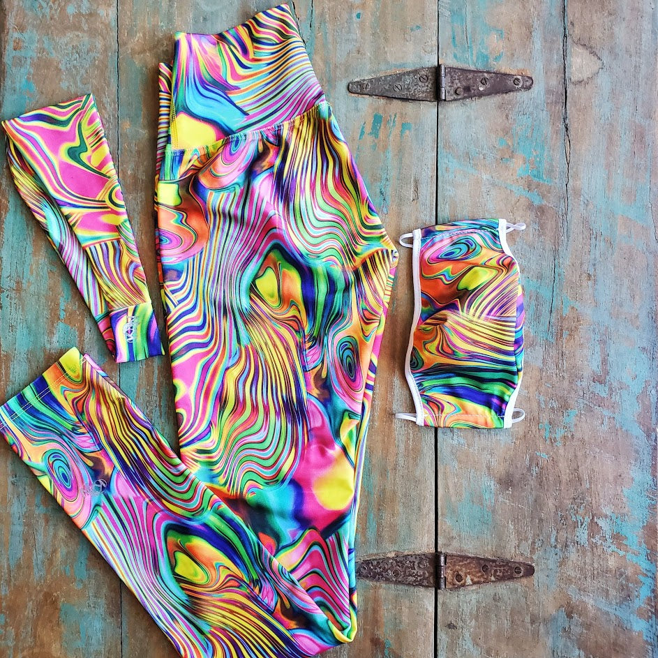 Active Psychedelic Bundle (Leggings, Mask & Headband) - KDW Apparel