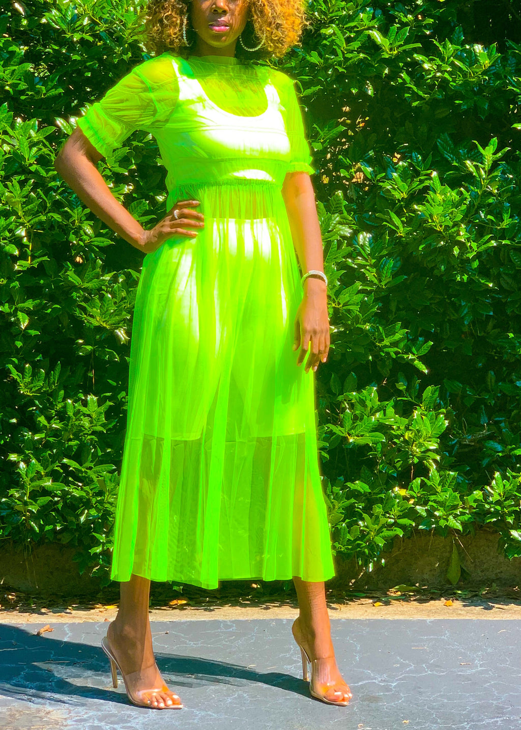 Neon Green Babydoll Dress