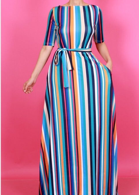 Stripe Me Down Maxi Dress