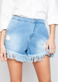 Ripped and Fringed Shorts