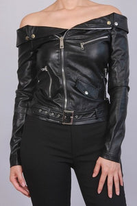 Off the Shoulder Faux Leather Jacket