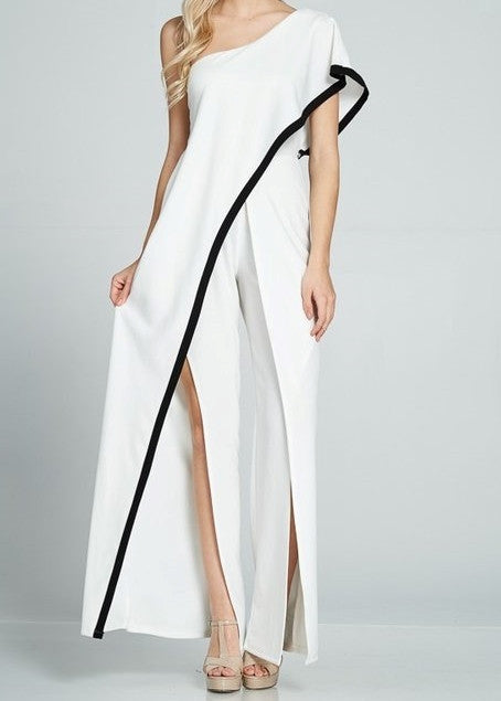 One Shoulder Waterfall Jumpsuit