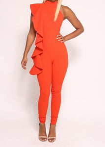 Orange Ruffles Jumpsuit