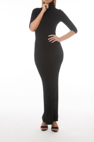 Ribbed Turtleneck Maxi Dress