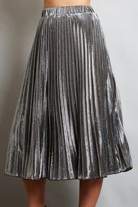 Silver Metallic Midi Skirt