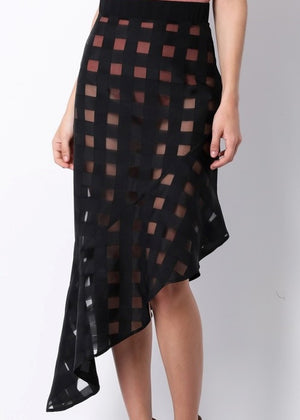 Plaid Asymmetrical Skirt