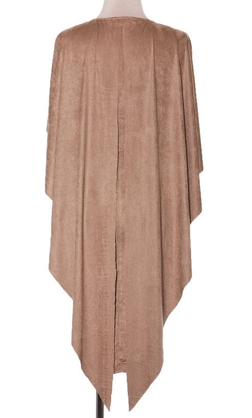 Faux Suede Cape Dress