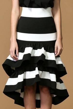 Black and White Tiered Midi Skirt
