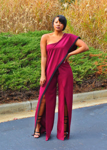 One Shoulder Waterfall Jumpsuit Wine